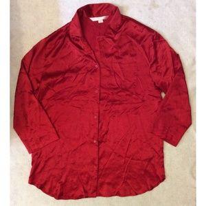 Victorias Secret Sleep Button Down Shirt Sz L Red